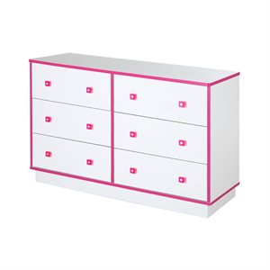 Bureau double 6 tiroirs Logik Blanc et rose - South Shore