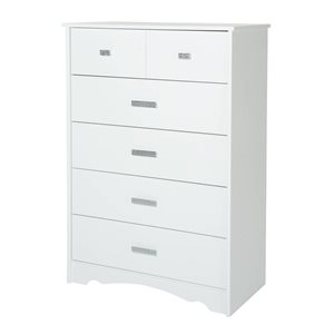 Commode 5 tiroirs Tiara Blanc Solide - South Shore
