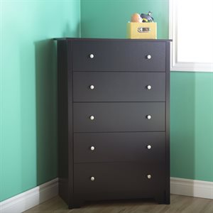 Commode 5 tiroirs Vito Noir Solide - South Shore